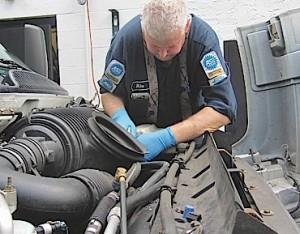 Technician Mike performing diagnostics
