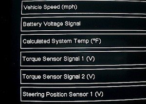 Scan tool screen - power steering
