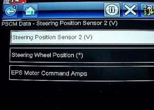 Scan tool screen 2 - power steering